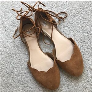 bp flats lace up scalloped brown leather Sz 7